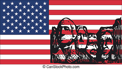 4Th July Silouette - 4th July Flag - Illustration