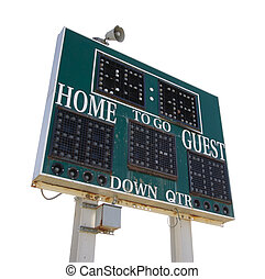High School Score Board Isolated on White