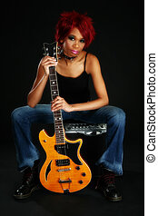 Beautiful African American Woman with Guitar - Beautiful...