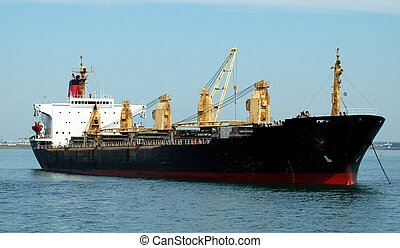 Cargo Ship - A cargo ship in Boston harbor