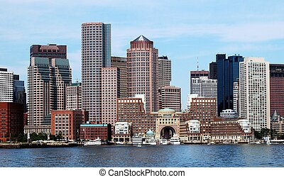 Boston Skyline - A view of Boston from the harbor.