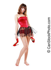 After party - Pretty slim barefoot girl in corset and...