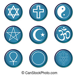 Religious symbols - A collection of religious symbol buttons...