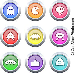 gaming buttons - collection of retro style gaming buttons...
