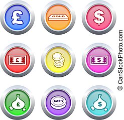 money buttons - collection of colourful money buttons...