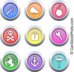 object buttons - collection of colourful object buttons...