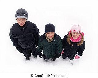 crianças, neve, Inverno