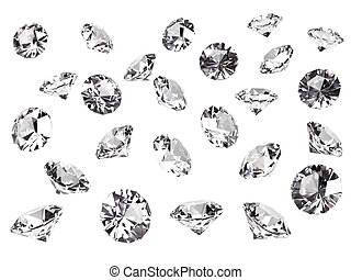 Several diamonds isolated on white background. High...