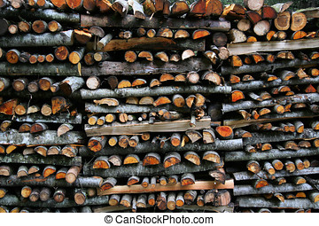 Logpile - Close up of logs piled up, end-on, in the forest....