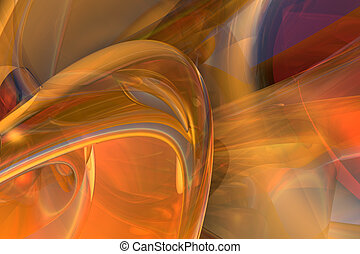 Orange Turbulence - Digital design rendered in 3D, with Post...