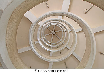 The Upward Spiral Stairs - An upward spiral shot of winding...
