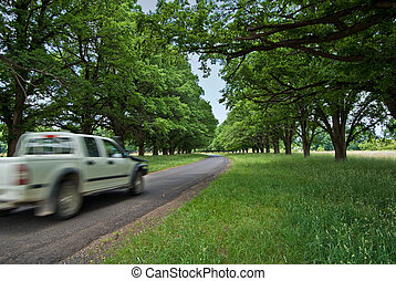 car on country road - a car zooms past on a pretty country...