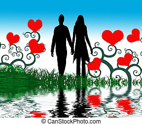 Hart - Valentine image with red love harts