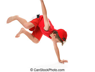 Active boy moving on one hand and legs in the air