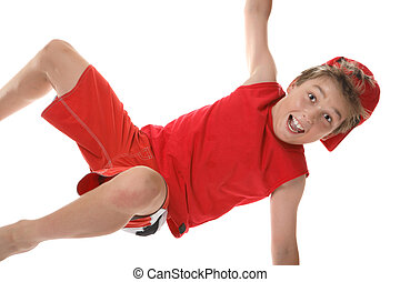 Active boy closeup - a happy active boy moving on one hand....