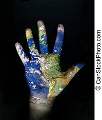 earth in our hands - globe texture on open hand