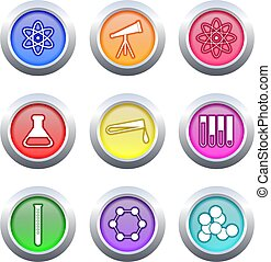 science buttons - collection of colourful science buttons...