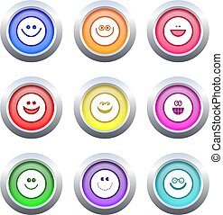 smilie buttons - collection of colourful smillie face...