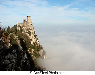 San Marino in the clouds - The Guaita castle in San Marino...