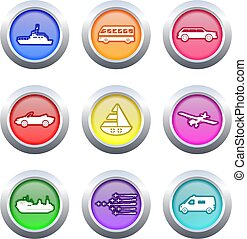 transport buttons - collection of colourful transport...