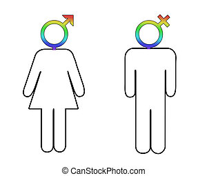 Gender differences - Male and female figures with...