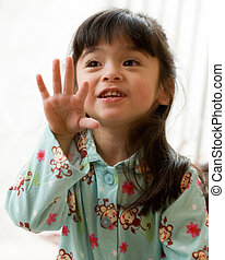 Counting fingers - Adorable little three year old brunette...