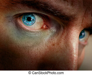 Bright Eyes - Close up of creepy, monsterish man\\\'s face...