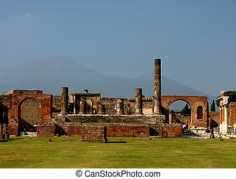 Pompeii Temple - Ruins of ancient Temple in Pompeii with...