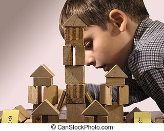 The moment of creation - The toy wooden castle and the boy...