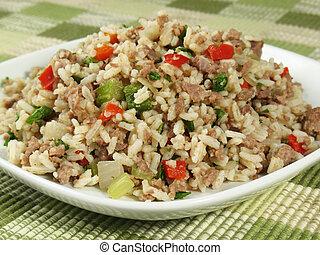 placa, arroz, sucio