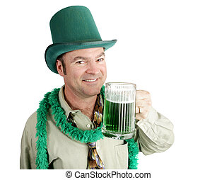 Slainte - Man celebrating his Irish heritage on St Patricks...