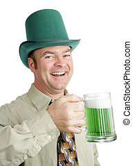 Irish Drinking Song - Man of Irish heritage enjoying a green...