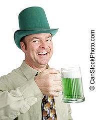 Irish Drinking Song - Man of Irish heritage enjoying a green...