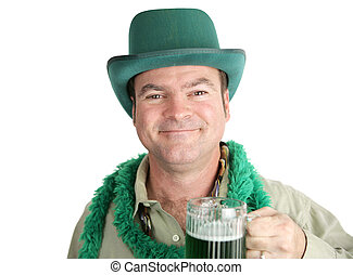 St Paddys Day Smile - Irish man, a bit tipsy, smiling with...