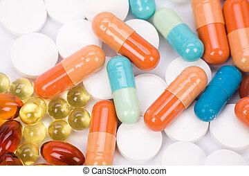 Medicine pills close up shot for background
