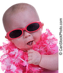 Baby with sunglasses - Adorable baby with sunglasses and lei