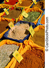 Spices on the market - Assorted spices for sale on french...