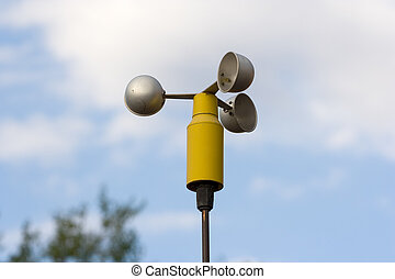anemometer, a meteorological instrument used to measure the...