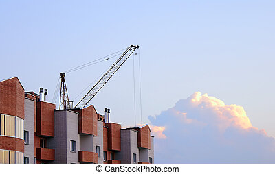 Above clouds. - A fragment of construction of the new house....