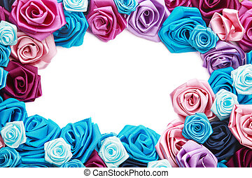 Valentines frame of blue, vinous, pink and turquois handmade...