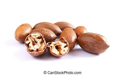 Pecan nuts on white - Few pecan nuts on white, one cracked
