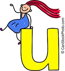 letter U girl - happy little girl sitting on giant letter U...