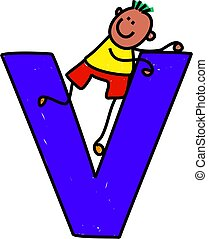 letter V boy - happy little ethnic boy climbing over giant...