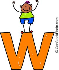 letter W boy - happy little boy climbing over giant letter W...