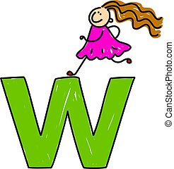 letter W girl - happy little girl climbing over giant letter...
