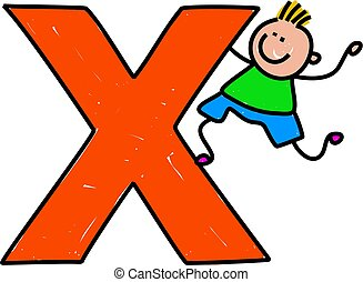 letter X boy - happy little boy climbing over giant letter x...