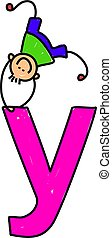 letter Y boy - happy little boy climbing over giant letter Y...