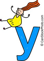 letter Y girl - happy little girl sitting on giant letter y...
