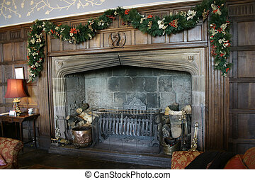 majestic fireplace - large majestic fireplace decorated for...