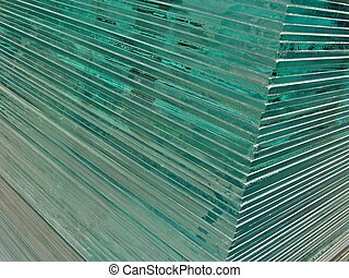 Glass sheets - A pile of glass sheets took from a corner
